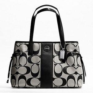 Coach Signature Stripe Carryall Handbag